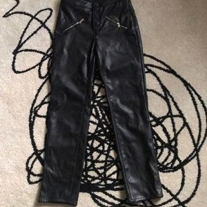 Faux leather skinny pants front zip size 2